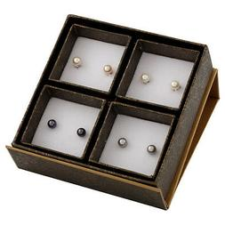 Boxed set including 6-6½mm white, natural pink, grey & blac