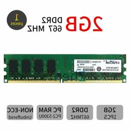 For Crucial 2GB 1GB DDR2 PC2-5300 667MHz 240Pin DIMM Desktop